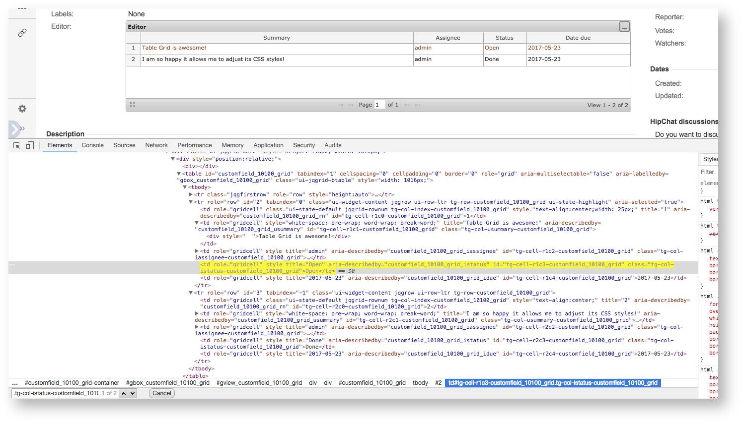 HTML Markup - TGNG documentation - Table Grid Editor