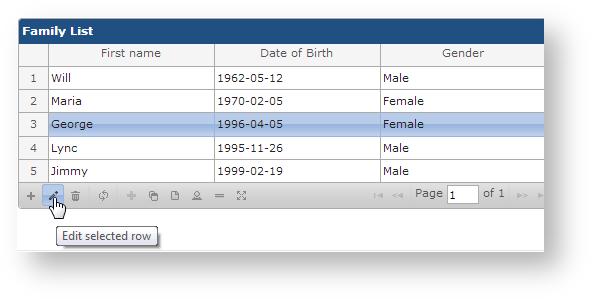 Edit information - TGNG documentation - Table Grid Editor